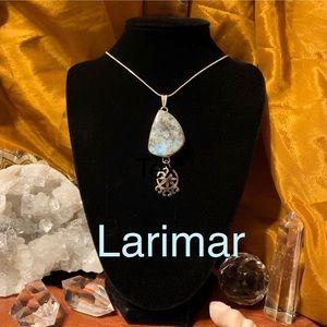 💥SALE! Large sterling silver Larimar pendant